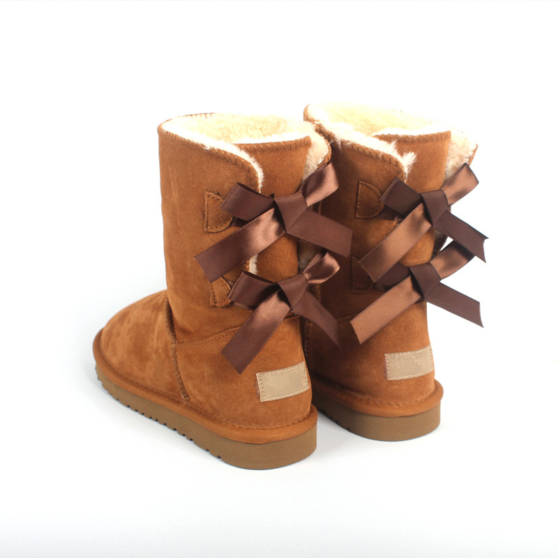 Brand Women Winter Mid-calf Snow Boots with Bows Ladies Genuine Cow Leather Boots Fur Shoes Female Ski Icing Footwear Waterproof