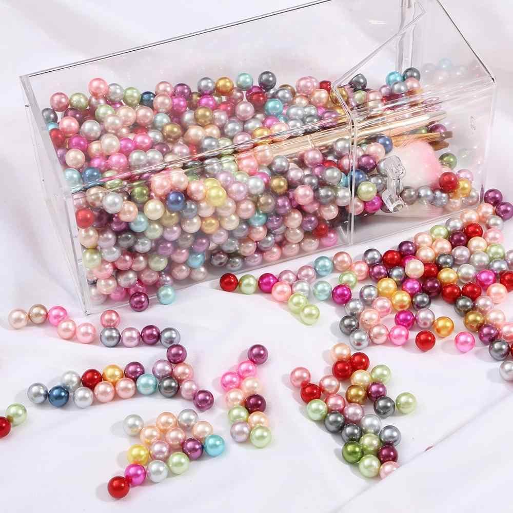 Imitation Pearl Beads Black Round Bead Beads No Hole Loose Charm Jewelry Making