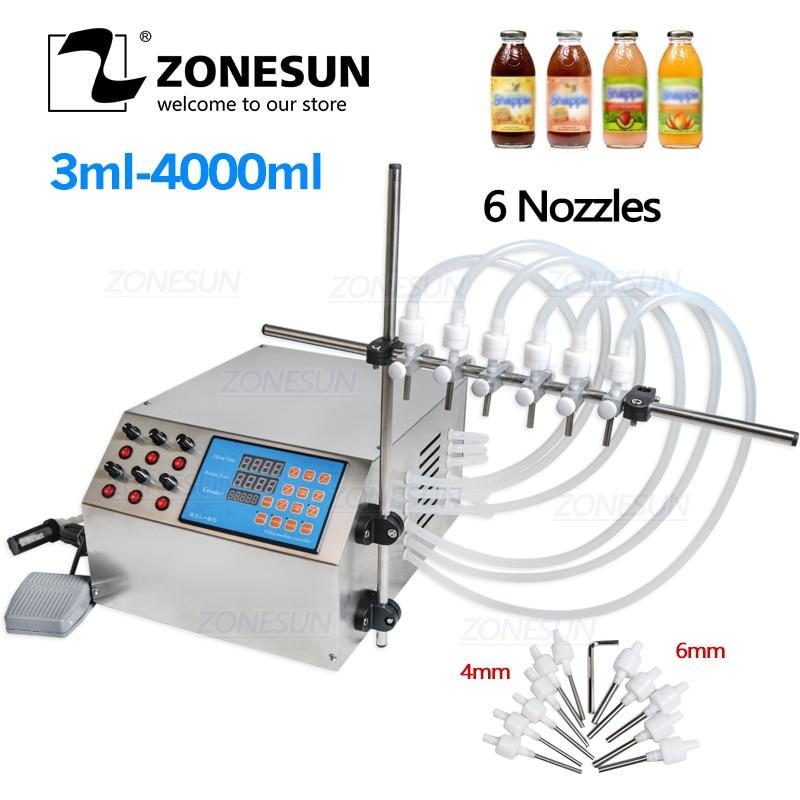 Zonesun Liquid Filling Machine Electric Digital Control Pump 3-4000ml For Bottle Perfume Vial Filler Water Juice Oil With 6 Head