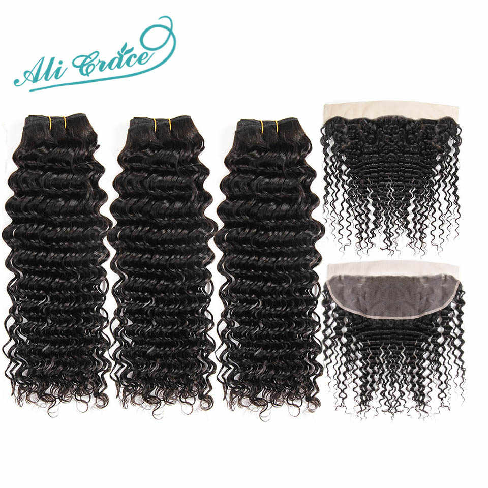 Ali Grace Hair 3 Bundles Brazilian Deep Wave With Frontal 13*4 Free Middle Part Ear to Ear Lace Frontal Remy Human Hair