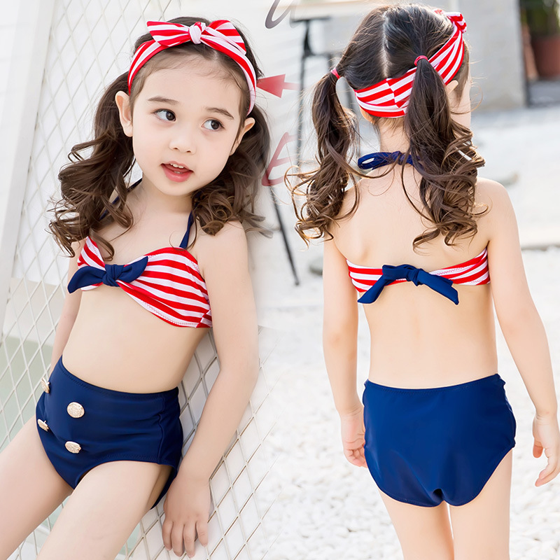KID'S Swimwear GIRL'S Swimsuit Children 1-9-Year-Old Europe And America Stripes Bikini Sun-resistant Long Sleeve Two-piece Swims