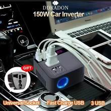 150w inversor de potência do carro 12v a 220v e 110v transformador de tensão digital conversor de energia modificado onda senoidal soquete universal