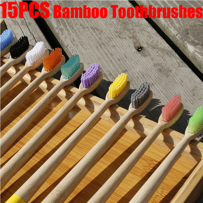 15Pcs New Toothbrush Eco-Friendly Rainbow Bamboo Soft Fibre Toothbrush Biodegradable Teeth Brush Solid Bamboo Handle Toothbrush