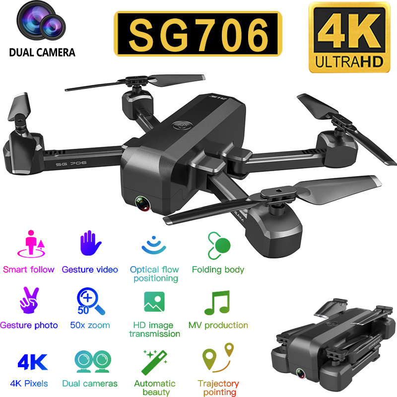 SG706 Quadcopter Drone 4K 1080P Dual Camera WiFi FPV Optical Flow Profissional RC Drone Foldable Quadrocopter Toys