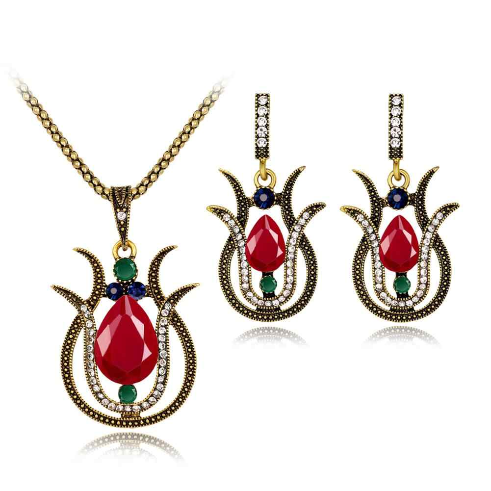 Vintage Turkish Women Retro Rhinestone Hollow Lily Flower Pendant Necklace Earrings Jewelr New Chic