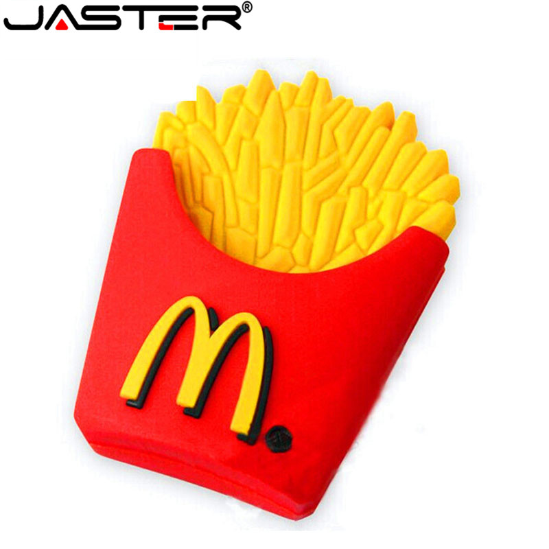 JASTER 2018 Hot Fashion Cartoon McDonald's Fries %100 Real Capacity USB 2.0 4GB 8GB 16GB 32GB 64GB Gift USB Flash Memory Stick