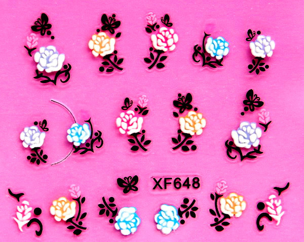 XF 5D Relief Nail Sticker Stereo Nail Sticker XF648