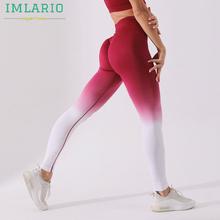 Imlario Ombre getry do treningu jogi Squatproof bezszwowe sportowe legginsy Scrunch Butt wysokiej talii rozciągliwe damskie legginsy do biegania tanie tanio CN (pochodzenie) Elastyczny pas spandex WOMEN Pasuje prawda na wymiar weź swój normalny rozmiar Yoga Pełnej długości