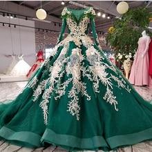 BGW 21817ht グリーンイブニングドレスパーティー O ネックレースアップバックロングスリーブイブニングドレス 2020 色の花ボールガウン Vestido デ · フェスタ