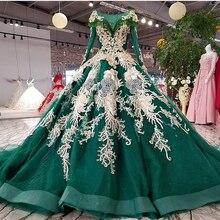 Bgw 21817ht vestido de noite verde festa o pescoço rendas até voltar manga longa vestido de noite 2020 cor flores vestido de baile