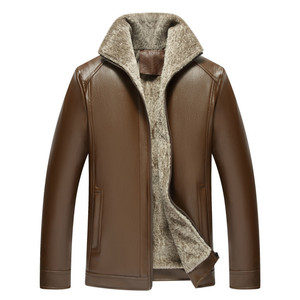 Image 5 - 2020 סתיו וחורף חדש פרווה אחד גברים של עור מפוצל בגדים בתוספת קטיפה עיבוי נוער מזדמן עור מעיל מעיל זכר