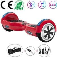 Scooter elétrico 6.5 Polegada vermelho crianças auto equilíbrio scooter placa de equilíbrio 700 w duas rodas hoverboard led bluetooth + chave remota saco|Scooters de duas rodas| |  -