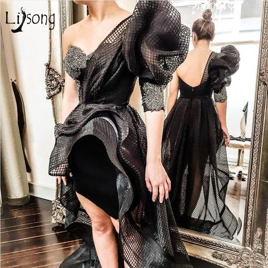 Sexy Black Net Tutu High Low Prom Dresses 2020 One Shoulder Ruffles Fashion Prom Gowns Appliques Backless Vestidos