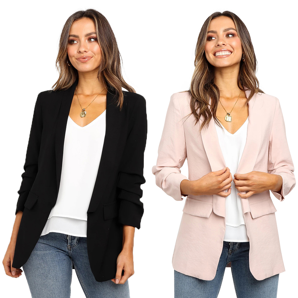 2019 Womens Blazer Pink Long Sleeve Blazers Solid Coat Slim Office Lady Jackets Female Tops Suit Blazer Femme Workwear D30