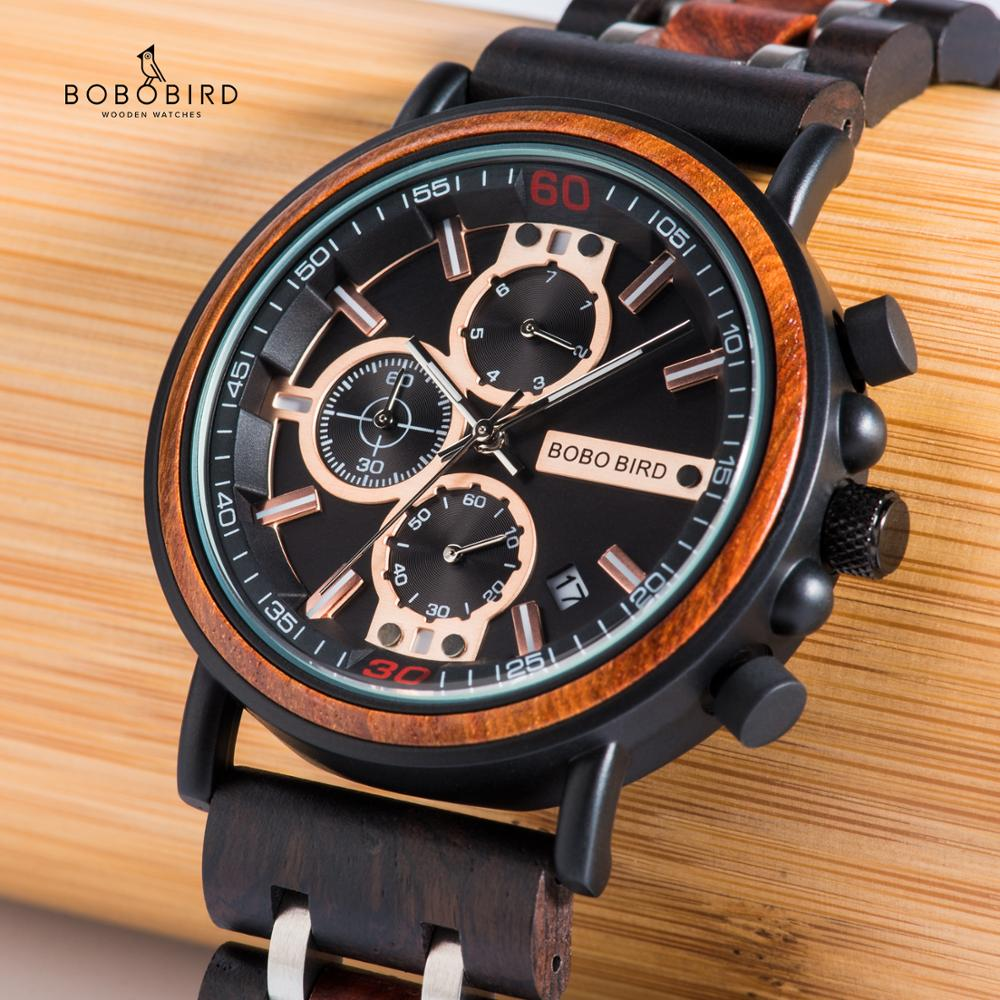BOBO BIRD Relogio Masculino Watch Men Reloj Hombre Wooden Wristwatch Chronograph Military Watches In Gift Box Customization JS18