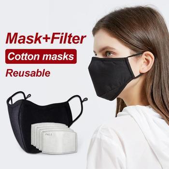 2pcs Adult Black Mouth Mask Adjustable Dust Proof PM2.5 Mask Cotton Mouth Mask Washable Reusable Outdoor Face Masks