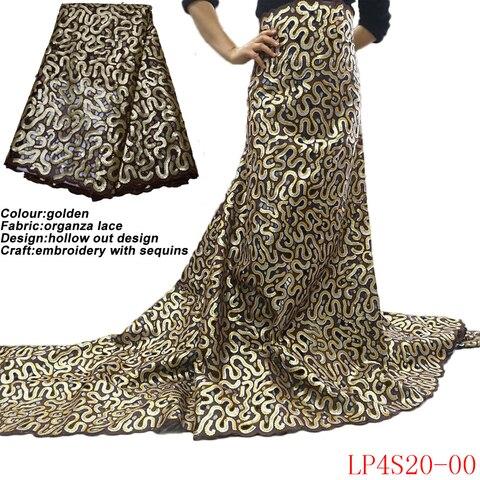 Tecido de Renda Bordado com Design Tecidos para Vestuário Anna Africano Lantejoulas Alta Qualidade Oco Organza Ouro Costura 2020