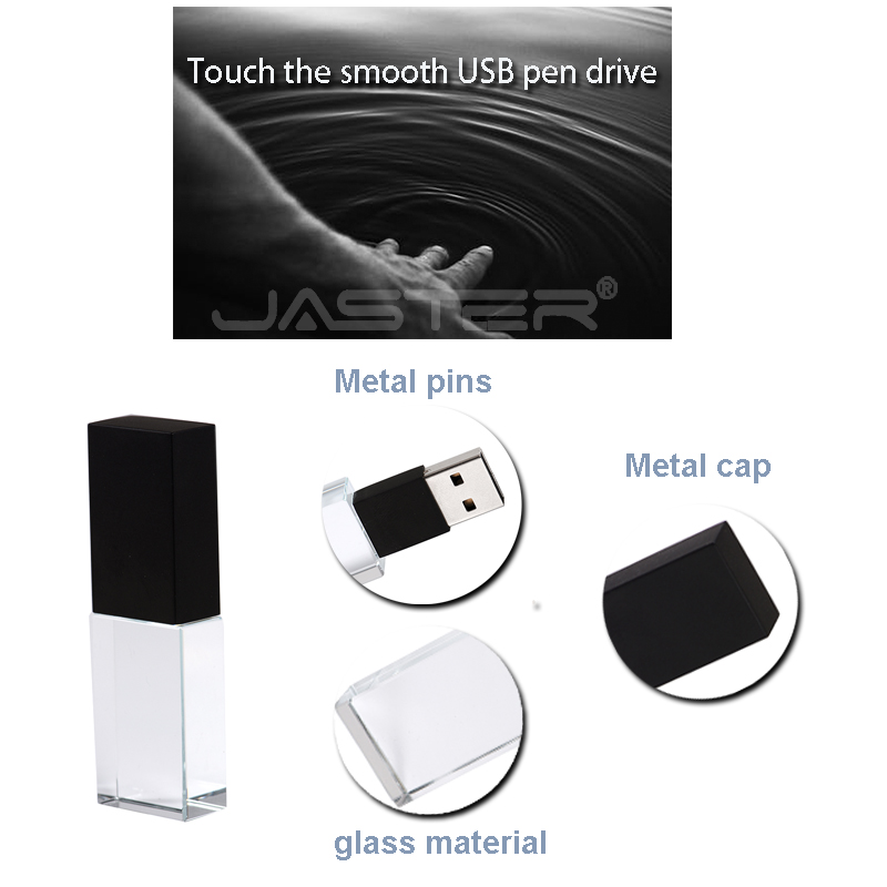 Image 2 - JASTER New Custom LOGO Crystal Usb 2.0 Memory Flash Drive with Gift Box 2GB 4GB 8GB 16GB 32GB 64GB(Over 10pcs Free Logo)-in USB Flash Drives from Computer & Office