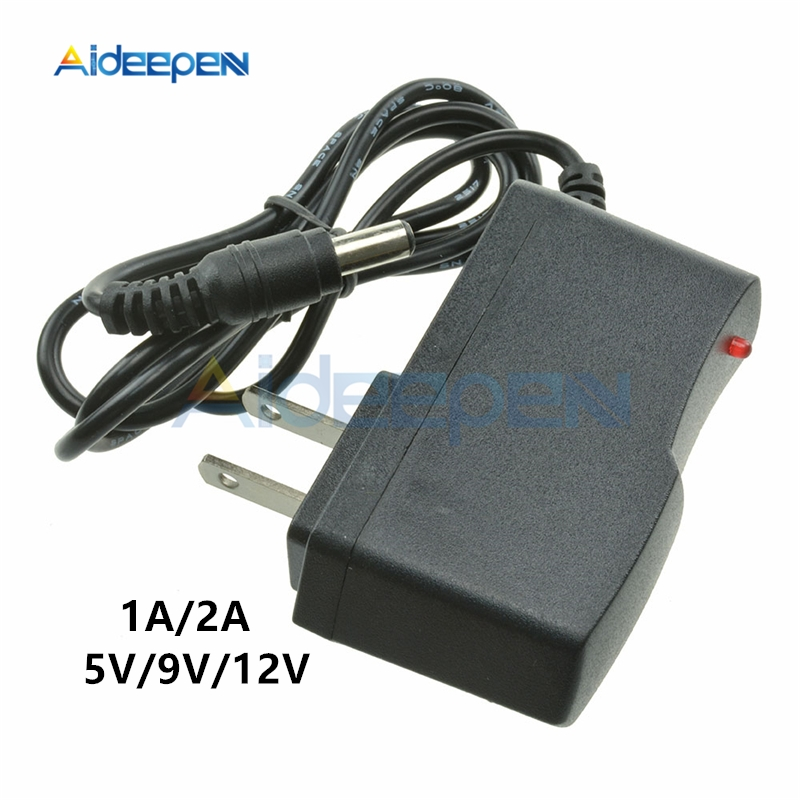 AC 100V-240V to 5V <font><b>9V</b></font> 12V 1A 2A US Socket Plug Power <font><b>Adapter</b></font> Converter Universal Wall Charger 5.5 X 2.1MM Line Length 1M image