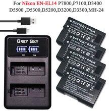 Pack de batteries 4x1500mAh, pour Nikon D5200 D3100 D3200 D5100 P7000 P7100