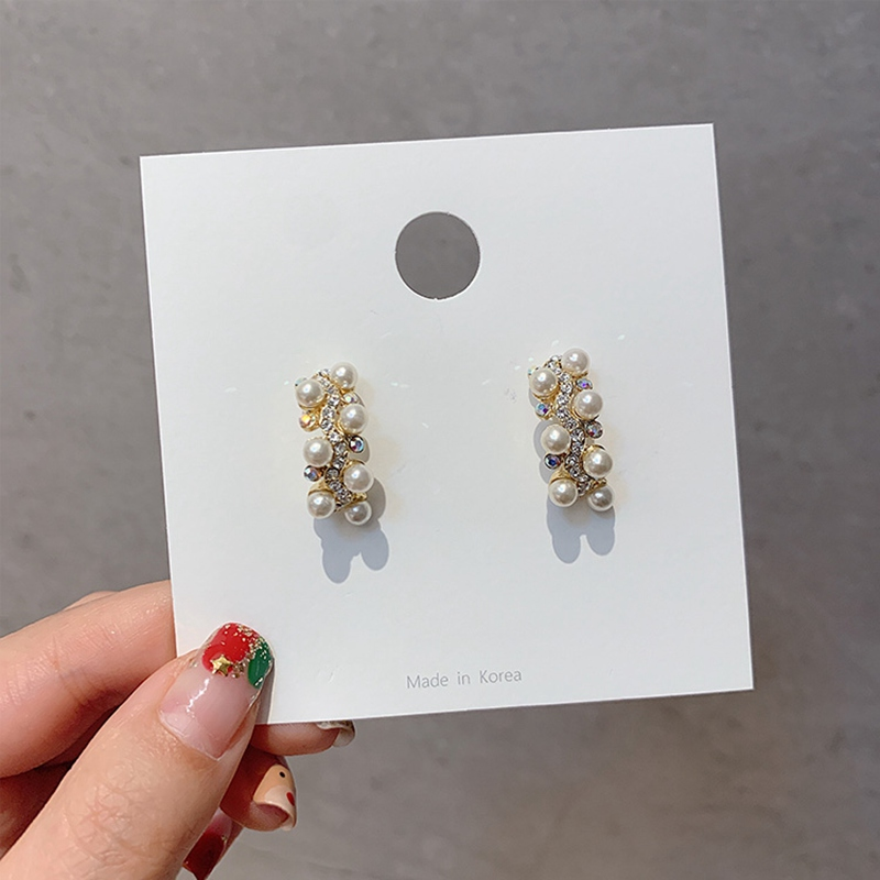 MENGJIQIAO Wholesale Elegant Simulated Pearl Hoop Earrings For Women Girls Fashion Rhinestone C Shaped Boucle D'oreille Ewelry