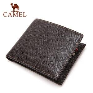 Image 2 - Camel carteira masculina de couro legítimo, carteira masculina compacta feita em couro legítimo com design de camel, estilo curto e casual