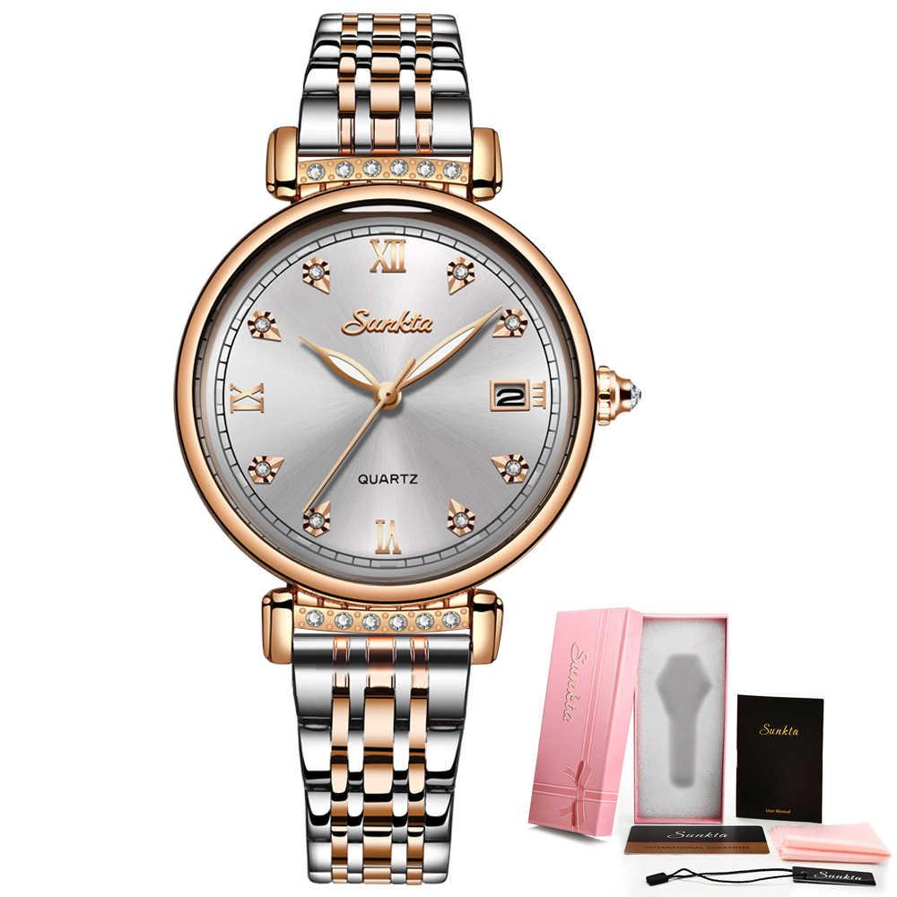 SUNKTAใหม่Rose Goldนาฬิกาผู้หญิงธุรกิจควอตซ์นาฬิกาผู้หญิงแบรนด์หรูผู้หญิงนาฬิกาข้อมือนาฬิกาผู้หญิงนาฬิกาRelogio Feminin