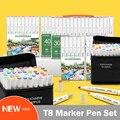 TOUCHNEW 30/40/60/80/168 цветов художественные маркеры авторучка с двойным наконечником набор спиртовых маркеров круглая авторучка для детей цветные...