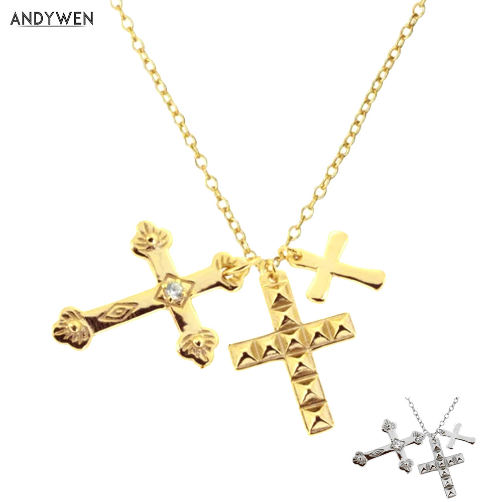 Подвеска-Крест ANDYWEN из стерлингового серебра 925 пробы с тремя подвесками, длинная цепочка, ожерелье 2021, модные ювелирные украшения, подарок ...
