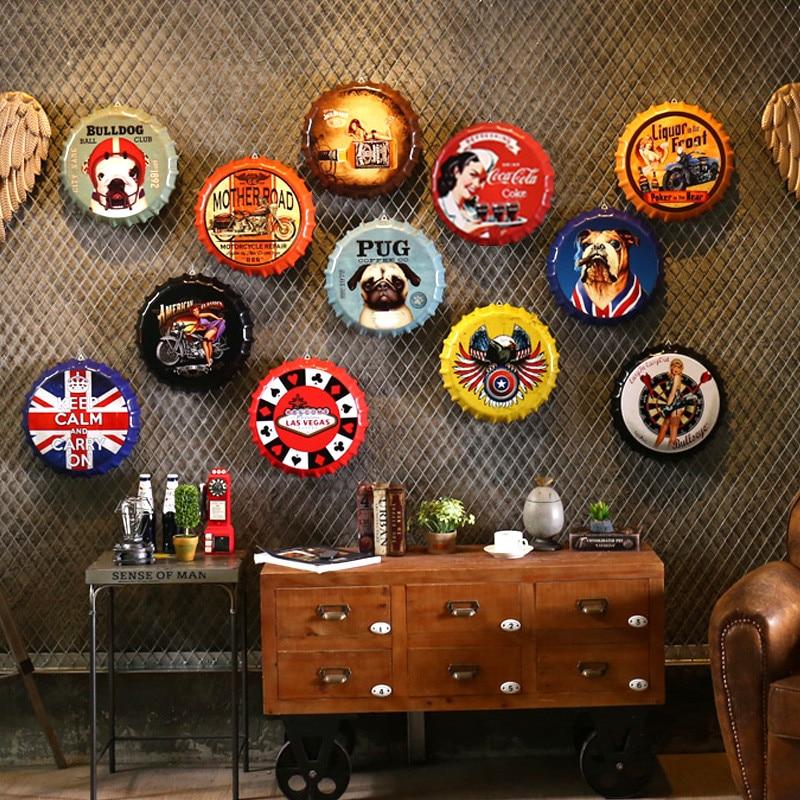Retro Wall decorations 35cm Beer Bottle Caps Metal Tin Signs Capsules Plates Wall Art Plaque Vintage Cafe Bar Pub Home Decor
