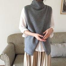 Женский свитер водолазка жилет в винтажном стиле однотонный