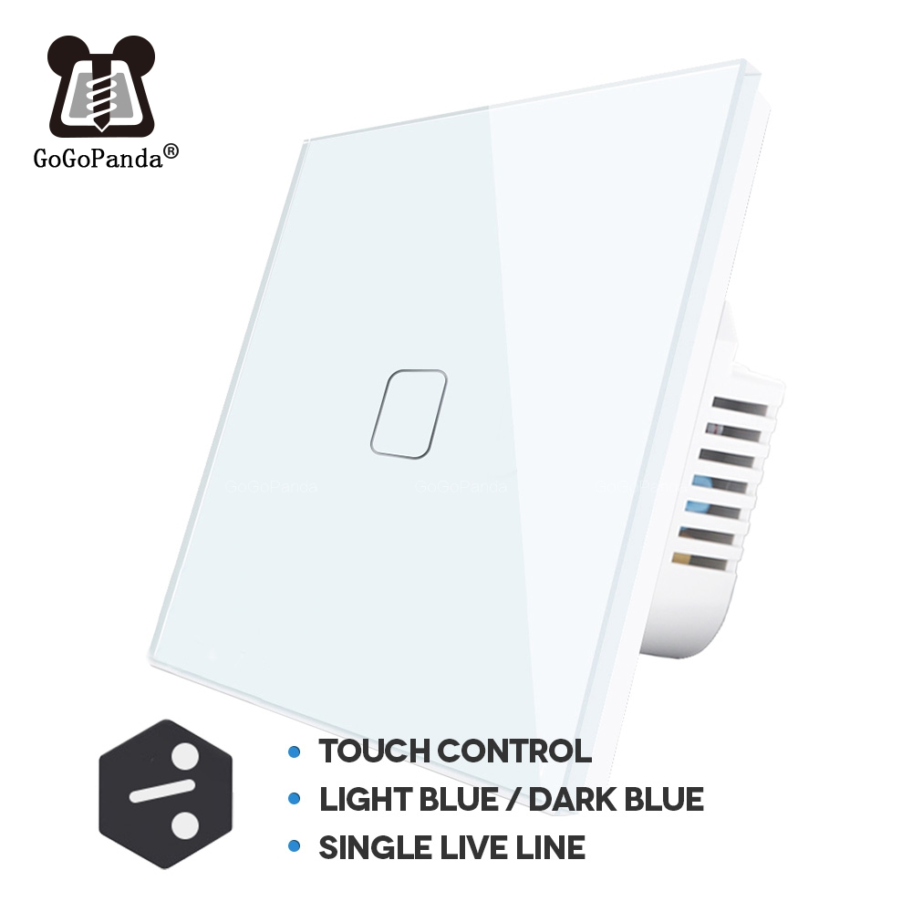 EU 1 2 3 Gang 2 Way Wall Light Controller  Home Automation Touch Switch For Stair Inside / Outside Control Switch Glass Panel