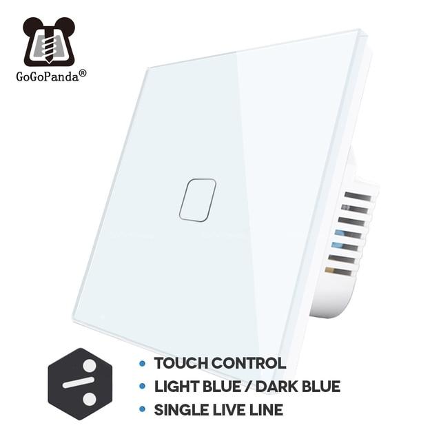 UE 1 2 3 Gang 2 Way Parete di Controllo Della Luce di Home Automation Interruttore di Tocco Per Scale Allinterno/di Controllo Al di Fuori interruttore sul Pannello In Vetro