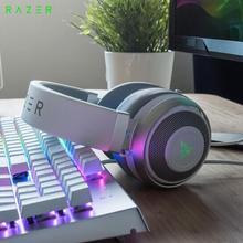 Authentic Razer KRAKEN 7.1 V2 Mercury USB Digital gaming headphone white wired pro game headset with logo light PC