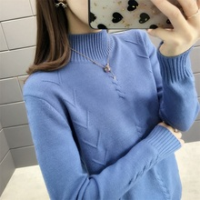 5352 (Zhongfang 4 rows 5) Autumn and winter new semi-high collar slim knitted sweater, pure color bottom dress 33ff стоимость