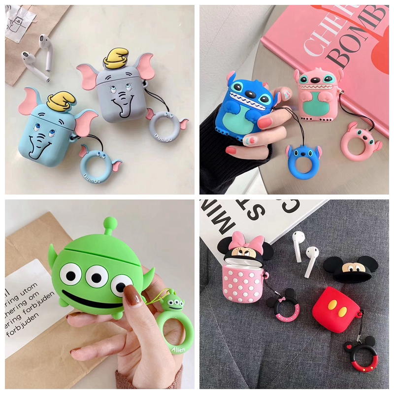 For AirPods Case 3D Cute Cartoon Elephant Alien Earphone Cases For Apple Airpods 2 Funny Protect Cover With Finger Ring Strap