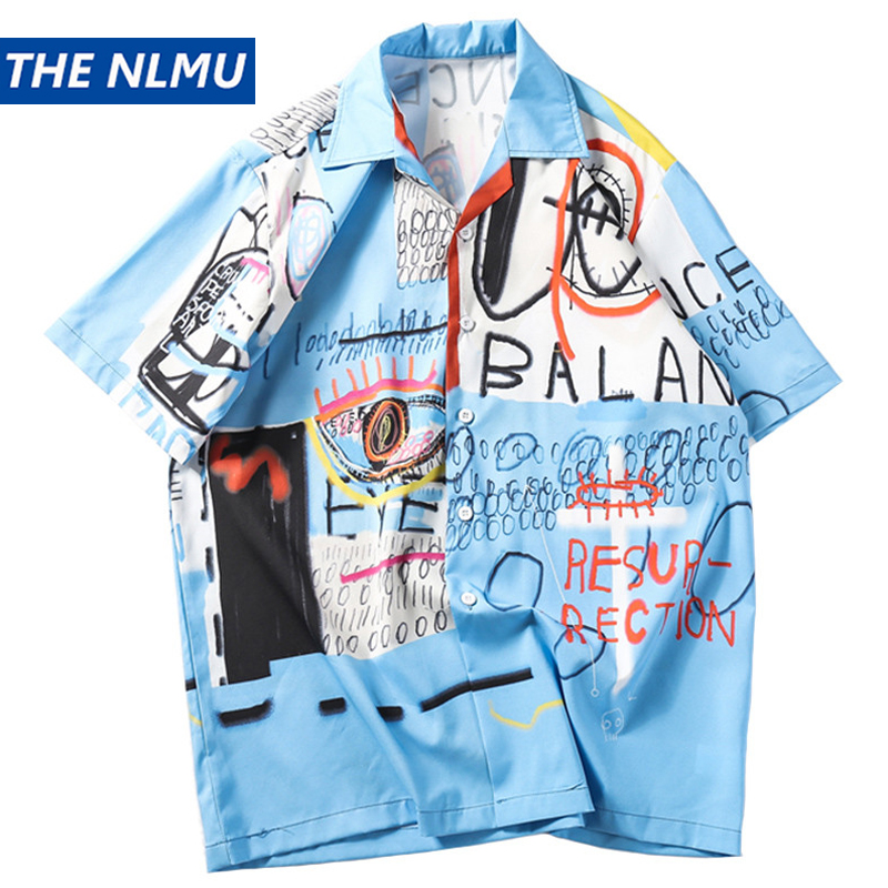 Hip Hop Shirt Streetwear Men Hawaiian Shirt Graffiti Print Harajuku Beach Shirt HipHop Summer Thin Tops Short Sleeve WO222