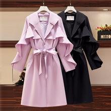 4xl Женская модная Осенняя ветровка с оборками толстые мм пальто
