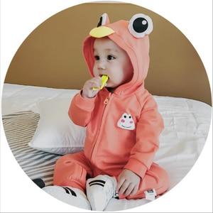 Милые детские комбинезоны с капюшоном и ушками лягушки для маленьких мальчиков и девочек; Одежда для новорожденных; Комбинезон; Костюм для ...
