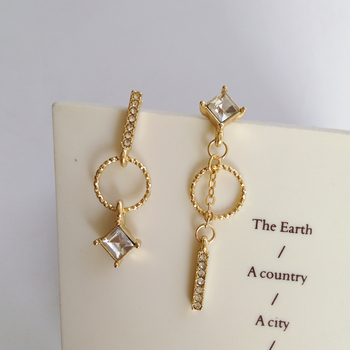 S925 needle New Fashion Romantic Jewelry Gifts Goldend Plating High Quality Shiny Zircon Crystal Drop Earrings Women