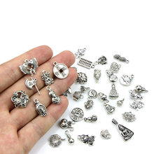 40Pcs/set Tibetan Silver Pendant Chinese Style Coin Pendant Charm DIY Bracelet Necklace DIY Craft Making(China)
