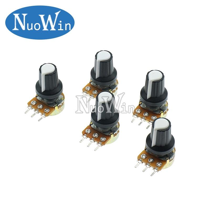 5 шт./лот WH148 1K 10K 20K 50K 100K 500K Ом 15 мм 3-контактный линейный конический роторный потенциометр резистор для Arduino с белой крышкой AG2