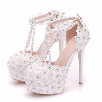 Women's Hollow Lace High Heel Pumps