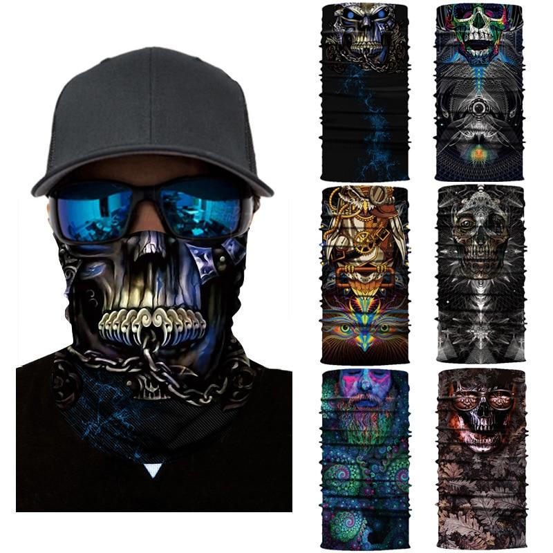 Bandana mágica multifuncional para hombre y mujer, pañuelo para la cara de ciclista, sin costuras, color de fantasía 3D, arte abstracto, Calavera