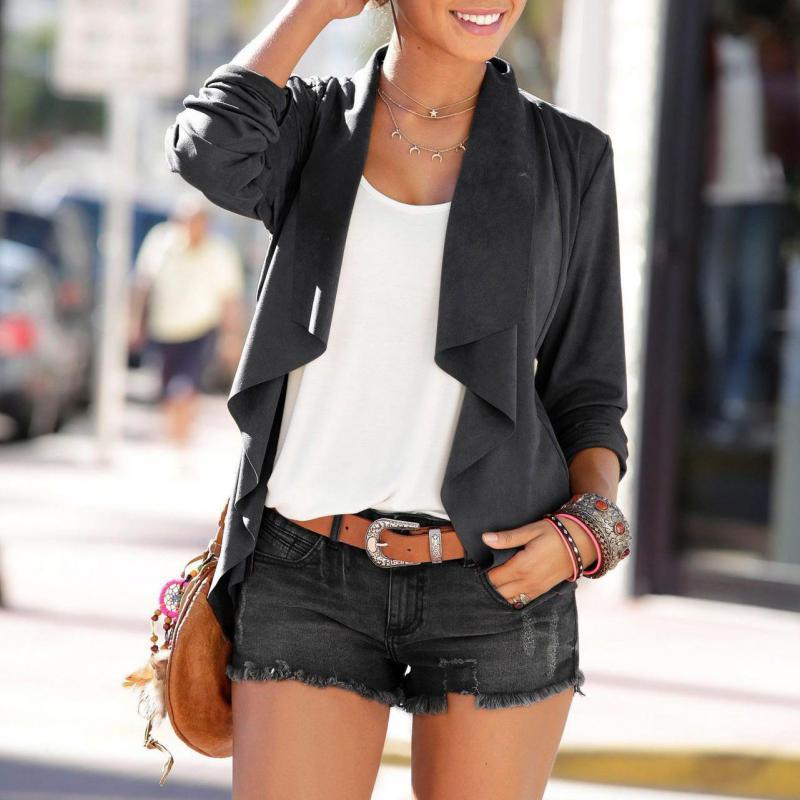 3 Colors Streetwear Women Outerwears 2019 Autumn Winter Patchwork Jackets Women Solid Turn-down Collar Thin Asymmetric Coats