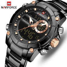 NAVIFORCE Watch Top Brand Fashion Black Dual Display Men Watches Stainless Steel Luxury Business Waterproof Mens Wrist Watches naviforce original box without watches