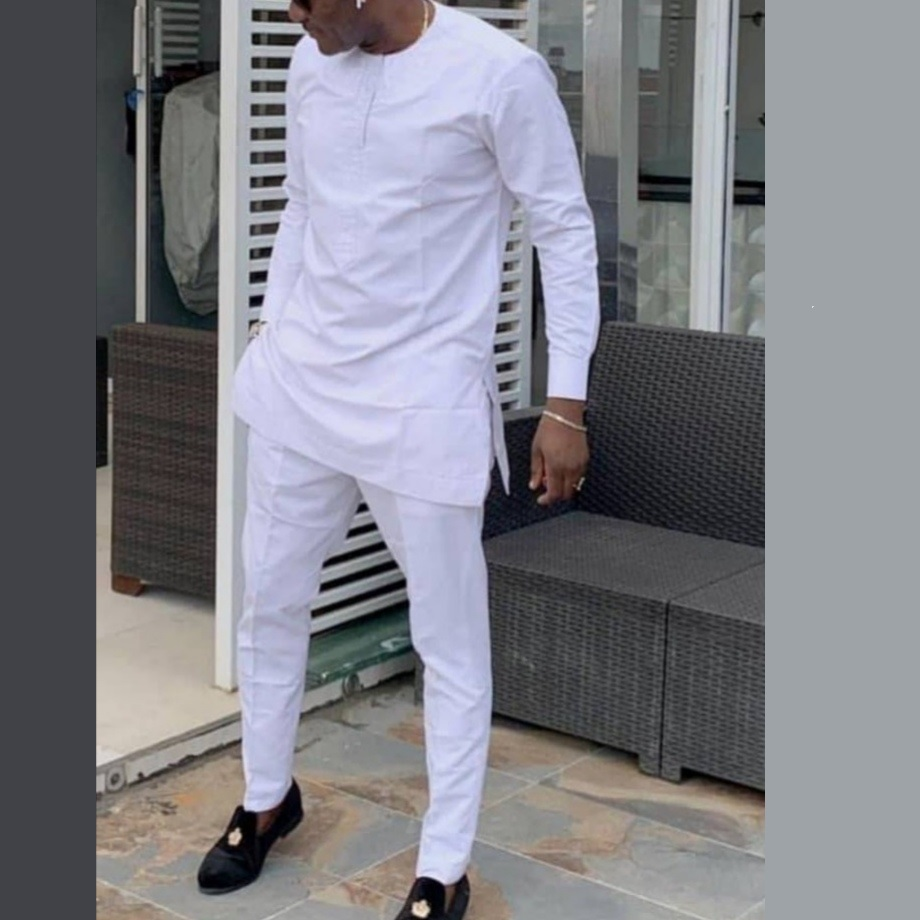African Clothes Man Shirts With Pants Solid White Tops+Trousers Custom Made Men's Outfits African Party Pant Set