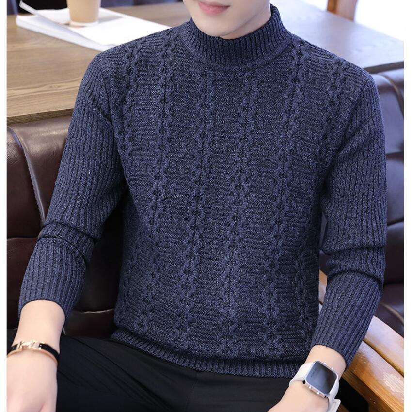 2019 Brand Clothing New Men Sweater Fashion Autumn Solid Slim Fit Pullovers Male High Collar Casual Sweaters And Pullovers Tops