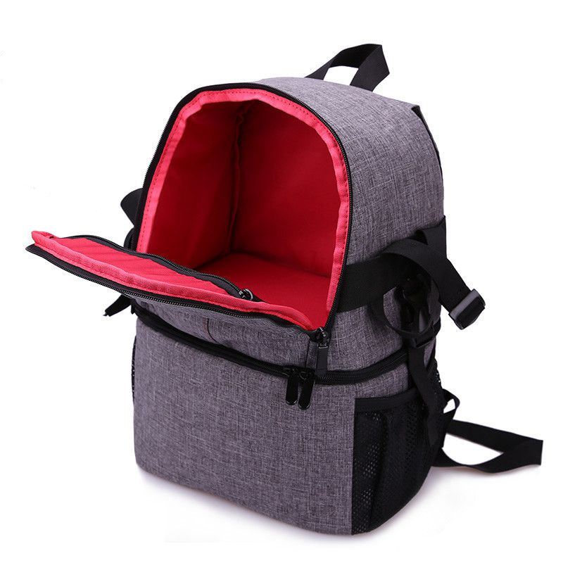 Photo Camera DSLR Video Waterprpof Oxford Fabric Soft Padded Shoulders Backpack SLR Bag Case for Canon Nikon Sony(red)