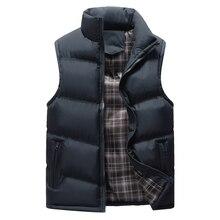 Erkek kolsuz ceket yeni moda kalınlaşmak pamuk yelek sonbahar sıcak yelek kış erkek yelekler erkekler rahat rüzgarlık